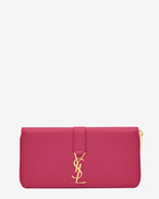 YSL Zip Around Wallet in Lipstick Fuchsia Leather