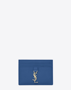 YSL Credit Card Case in Royal Blue Leather