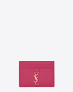 YSL Credit Card Case in Lipstick Fuchsia Leather