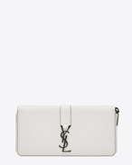 YSL Zip Around Wallet in Dove White Leather