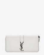 Portefeuille zippé YSL en cuir blanc grisé