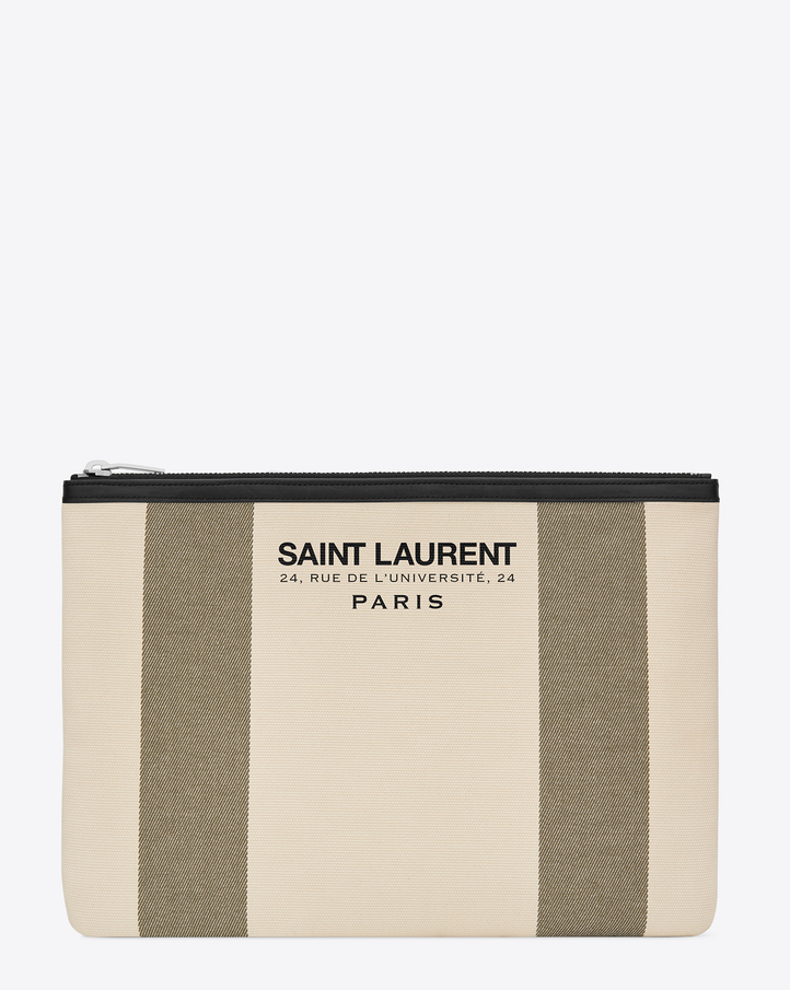 ysl luggage - Saint Laurent BEACH Tablet Pouch In Light Beige And Khaki Canvas ...
