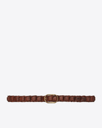 Oval Buckle Braided Belt in Vintage Brown Leather and Antique Gold-Toned Metal