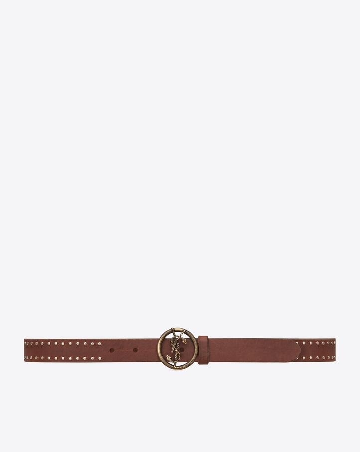 saint laurent monogram saint laurent studded round serpent buckle belt in tan leather and