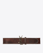 MONOGRAM SAINT LAURENT Serpent Buckle Belt in Vintage Brown Leather and Antique-Gold Toned Metal