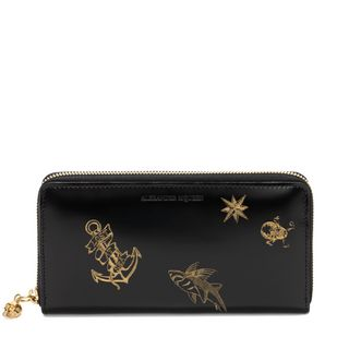 ALEXANDER MCQUEEN, Wallet, Lasercut Tattoo Continental Zip Wallet