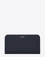 CLASSIC SAINT LAURENT PARIS ZIP AROUND WALLET IN NAVY BLUE GRAIN DE POUDRE TEXTURED LEATHER