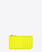 Classic SAINT LAURENT PARIS 5 Fragments Zip Pouch in Neon Yellow Grain de Poudre Textured Leather