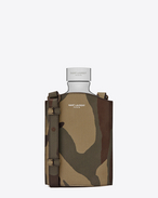 CLASSIC SAINT LAURENT PARIS Flask in Camouflage Printed Grain De Poudre Textured Leather and Aluminum
