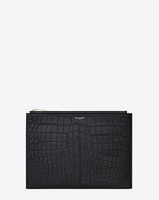 Classic SAINT LAURENT PARIS Zipped Tablet Sleeve in Black Crocodile Embossed Leather