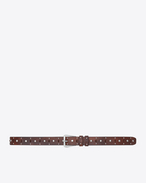 Trapeze Buckle Belt in Vintage Brown Leather and Oxidized Nickel