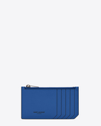 Classic SAINT LAURENT PARIS 5 Fragments Zip Pouch in Royal Blue and Black Leather