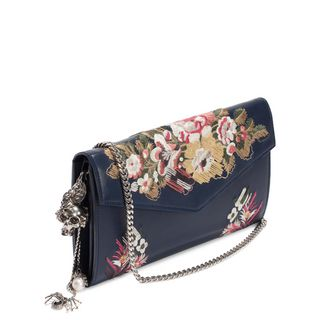 ALEXANDER MCQUEEN, Wallet, Floral Embroidery Nappa Wallet with Chain