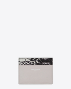 SAINT LAURENT PARIS Credit Card Case in Light Grey Leather and Black and White Python Embossed Leather
