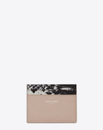 SAINT LAURENT PARIS Credit Card Case in Powder Pink Leather and Black and White Python Embossed Leather