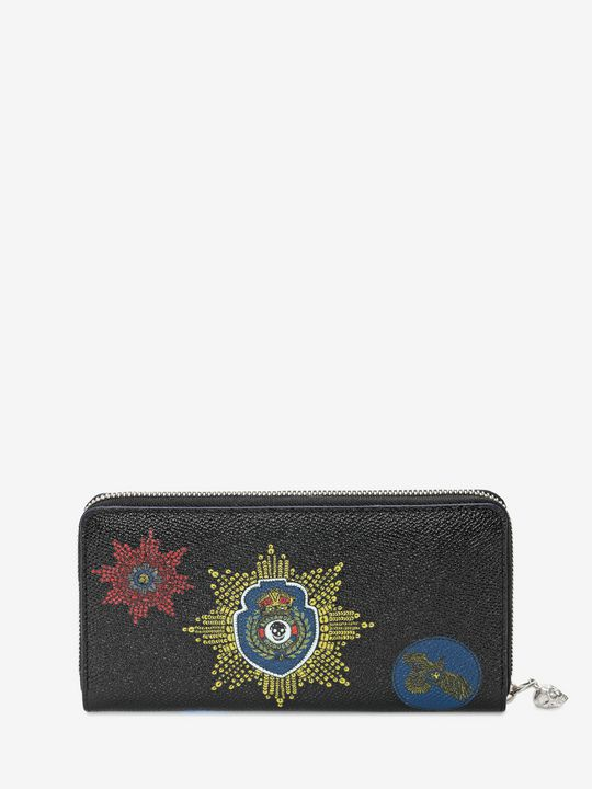 Black calf leather Continental Wallet with Badges