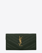 large college flap wallet in dark green matelassé leather