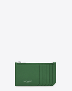Classic SAINT LAURENT 5 Fragments Zip Pouch in Clover Green Grained Leather