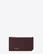 Classic SAINT LAURENT 5 Fragments Zip Pouch in Bordeaux Ayers Snakeskin
