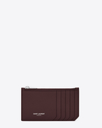 Classic SAINT LAURENT 5 Fragments Zip Pouch in Bordeaux Grained Leather