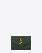 Small COLLEGE Envelope Wallet in Dark Green Matelassé Leather