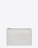 Classic SAINT LAURENT PARIS Zipped Mini Tablet Sleeve in Silver Grain De Poudre Lamé Textured Leather