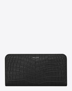 Classic SAINT LAURENT PARIS Zip Around Organizer in Black Crocodile Embossed Leather