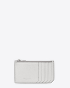 Classic SAINT LAURENT PARIS 5 Fragments Zip Pouch in Silver Grain de Poudre Lamé Textured Metallic Leather