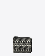 Classic SAINT LAURENT PARIS Compact Wallet in Black and Off White Skeleton Printed Grain De Poudre Textured Leather