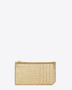 Classic SAINT LAURENT 5 Fragments Zip Pouch in Pale Gold Lizard Textured Metallic Leather
