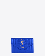 Small MONOGRAM SAINT LAURENT Envelope Wallet in Azure Blue Mixed Matelassé Metallic Leather