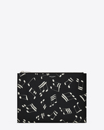 Classic SAINT LAURENT PARIS Zipped Tablet Sleeve in Black and Off White Musical Note Printed Grain De Poudre Textured Leather