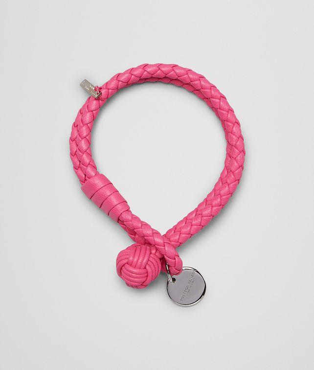 BOTTEGA VENETA ROSA SHOCK INTRECCIATO NAPPA BRACELET Keyring or Bracelets E fp