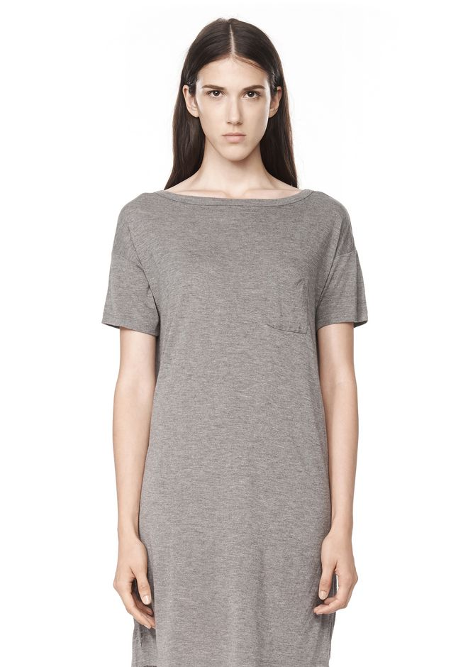 T by ALEXANDER WANG CLASSIC BOATNECK DRESS WITH POCKET Short Dress Adult 12_n_e