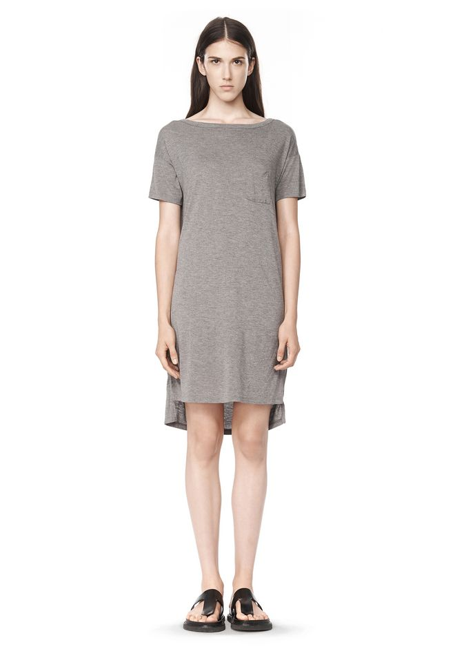 T by ALEXANDER WANG CLASSIC BOATNECK DRESS WITH POCKET Short Dress Adult 12_n_f