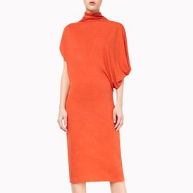 STELLA McCARTNEY, Midi, Solid Wool Draped Jersey Dress