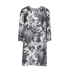 STELLA McCARTNEY, Longuette, Schwarzes Kleid Anemone mit Toile-de-Jouy-Print
