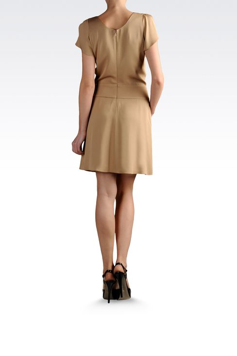 dress in crêpe with crossover neck: Short Dresses Women by Armani - 3