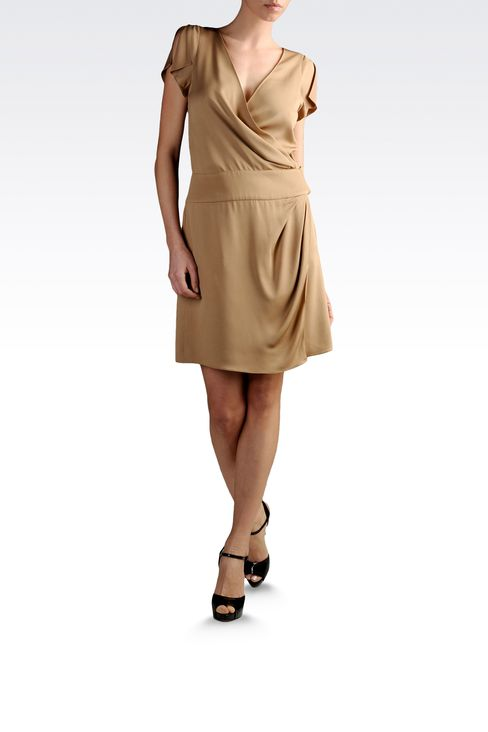 dress in crêpe with crossover neck: Short Dresses Women by Armani - 2