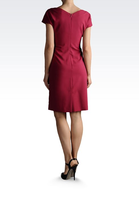 DRESS IN TROPICAL WOOL WITH DRAPING: Short Dresses Women by Armani - 3
