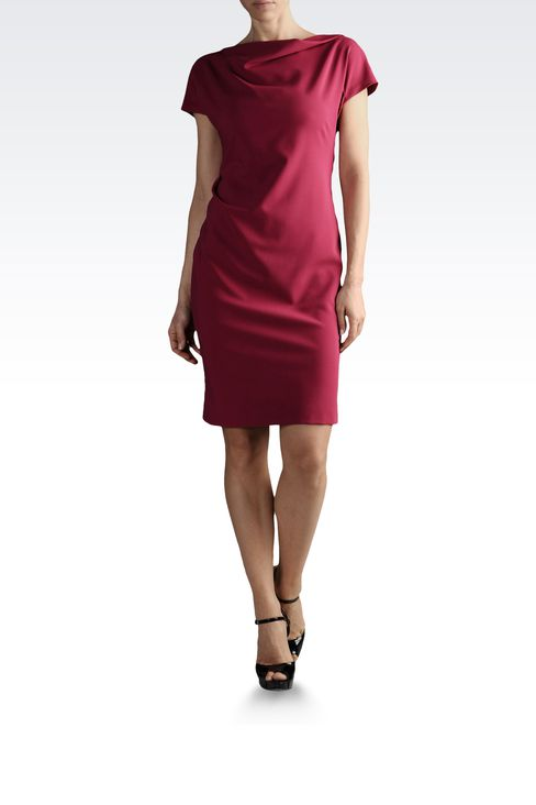 DRESS IN TROPICAL WOOL WITH DRAPING: Short Dresses Women by Armani - 2