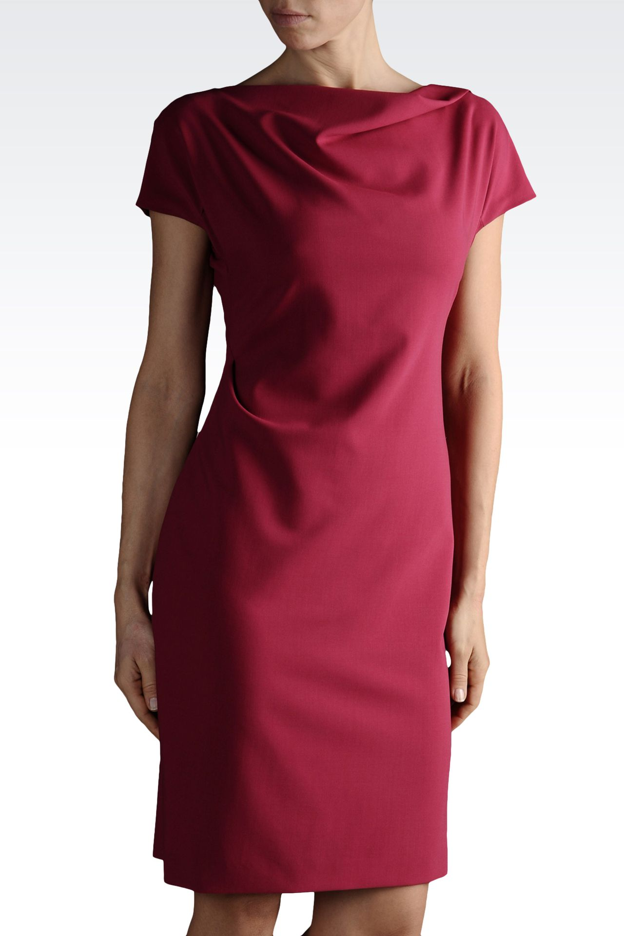 DRESS IN TROPICAL WOOL WITH DRAPING: Short Dresses Women by Armani - 0