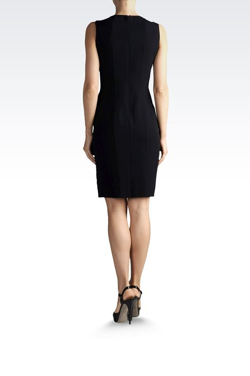 SHEATH IN WOOL AND SILK WITH REAR SPLIT: Short Dresses Women by Armani - 3