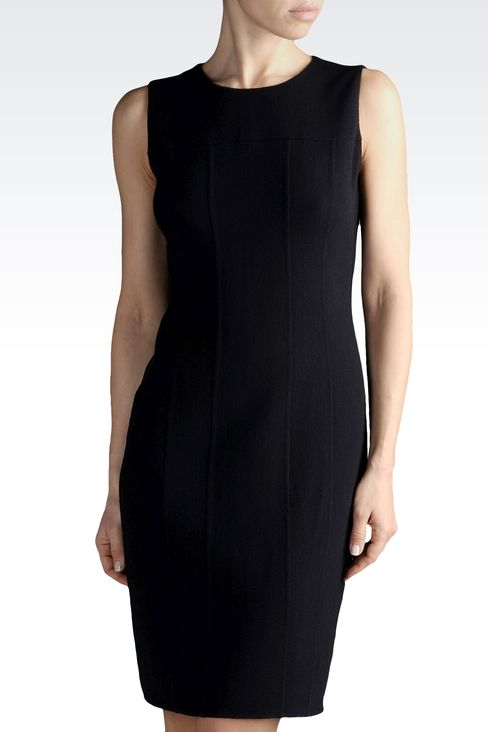 SHEATH IN WOOL AND SILK WITH REAR SPLIT: Short Dresses Women by Armani - 1