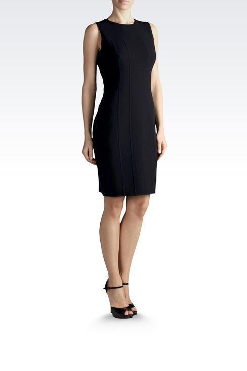 SHEATH IN WOOL AND SILK WITH REAR SPLIT: Short Dresses Women by Armani - 2