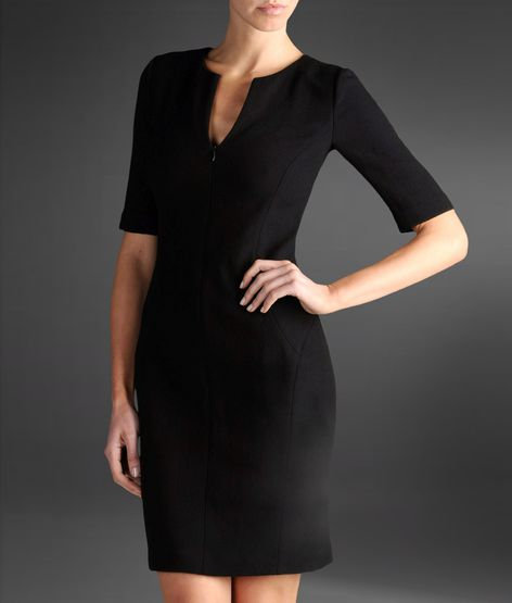 stretch wool and silk dress with 3/4 sleeves