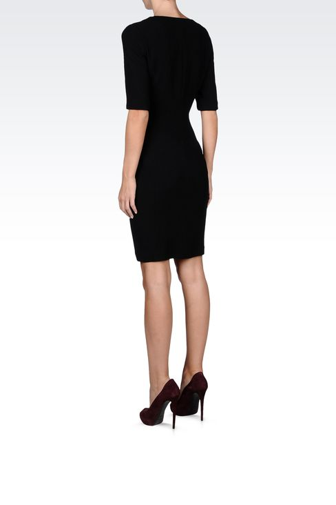 stretch wool and silk dress with 3/4 sleeves: Short Dresses Women by Armani - 3