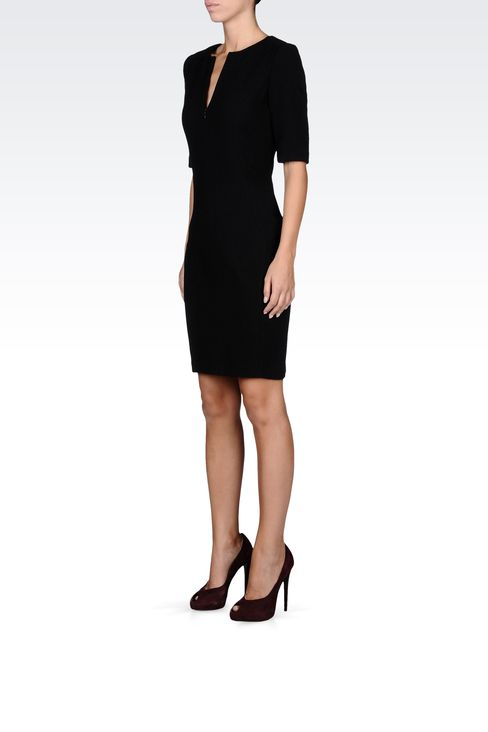 stretch wool and silk dress with 3/4 sleeves: Short Dresses Women by Armani - 2