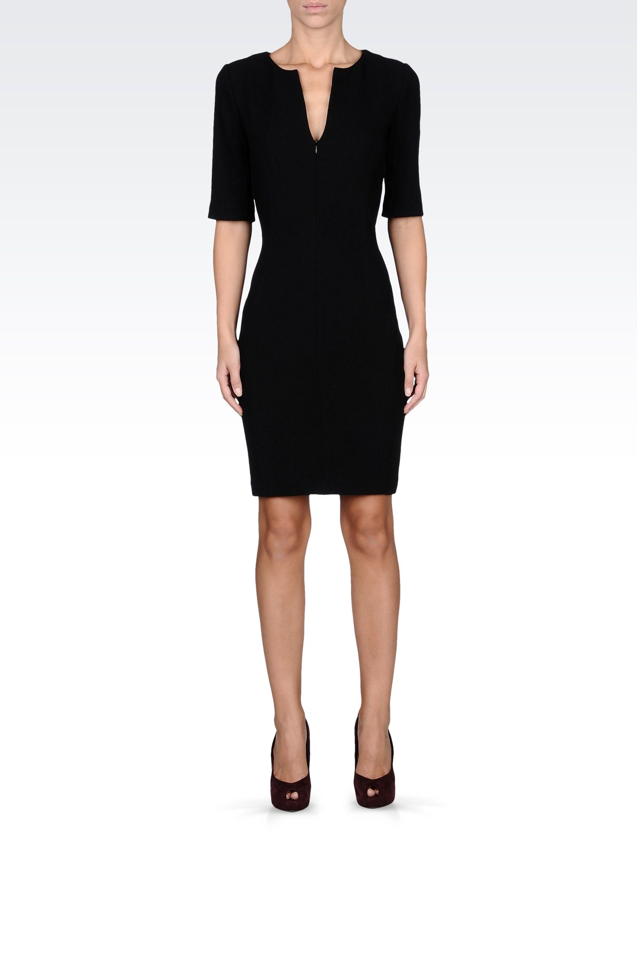 stretch wool and silk dress with 3/4 sleeves: Short Dresses Women by Armani - 0