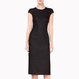 STELLA McCARTNEY, Midi, Black Brocade Bonded Milos Dress